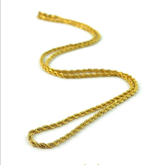 Jewelry Chain Necklace Men Gold 18k Gp Rope 28 4mm Poshmark